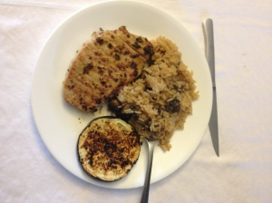 Spicy Pork, Mushroomy Rice Pilaf, Sun-Dried Tomato & Balsamic Eggplant