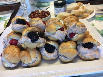 Pate a Choux with Chocolate Mousse and Berries